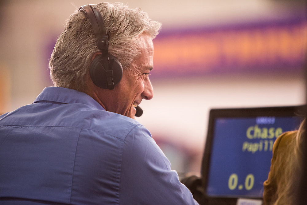 New York, NY - 8 February 2014. Olympic medalist Greg Louganis providing commentary for the agility trials, which were broadcast live.