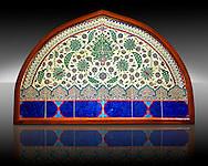 Glazed ceramic Ottoman arabesque Iznik Polychrome Lunette  tiled  window facade. In the Pavillion of the Istanbul Archaeological Museum, Inv. 41/545.