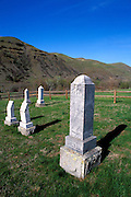 Tombstones in the Bredell Family Cemetery at the Spalding Site visitor center, Nez Perce National Historic Park, Idaho
