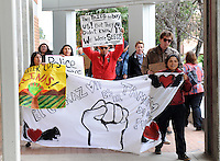 Around thirty determined people attended a peace rally at Hartnell College on Monday, then marched to the Salinas Police Department carrying signs and chanting. The rally, called #Baltimore2California, was organized to show unity with citizens of Baltimore protesting the death in police custody of Freddie Gray.
