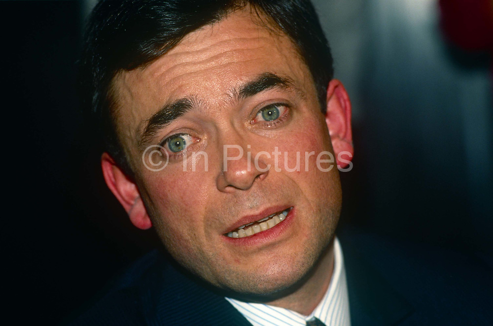 Businessman, Ian Maxwell b1956 - first son of media tycoon Robert Maxwell - at a press conference on 6th November 1991 in London England. just after his fathers unexplained death from a boat in the Mediterranean. Ian Maxwell was appointed chairman of Mirror Group Newspapers plc MGN following the death of his father on 5 November 1991. For the next month the group was the subject of speculation regarding its financial position.