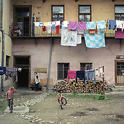 A street scene in Transylvania, Romania. 23rd July 2011. Photo Tim Clayton