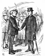 Joseph Arch (1826-1919) English trade unionist, politician and agricultural worker. Founder of National Union of Farm Labourers. Arch greeting the Bishop of Manchester who supported the Union in a letter to 'The Times'. John Tenniel cartoon from 'Punch' London 18 April 1874. Wood engraving