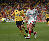 Photo: Tony Oudot.<br /> Watford v Southampton. Coca Cola Championship. 16/09/2007.<br /> Gregory Vignal of Southampton with Tommy Smith of Watford