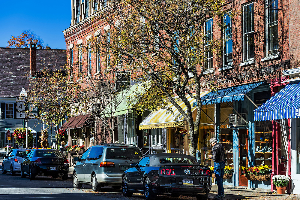Charming Main Street shops in Woodstock Village, Vermont, USA