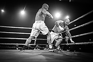 Ultimate bare-Knuckle boxing competition at Manchester's Bowlers Exhibition Centre, Old Trafford, Manchester, UK.<br /> Photo shows the fight between Lee McGarry, and Stanley Hofstaedter.<br /> Photo ©Steve Forrest/Workers' Photos