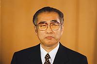 12.01.1999, Deutschland/Bonn:<br /> Keizo Obuchi, Ministerpräsident Japan, während der Presseunterrichtung, Bundeskanzleramt, Bonn<br /> IMAGE: 19990112-02/01-07