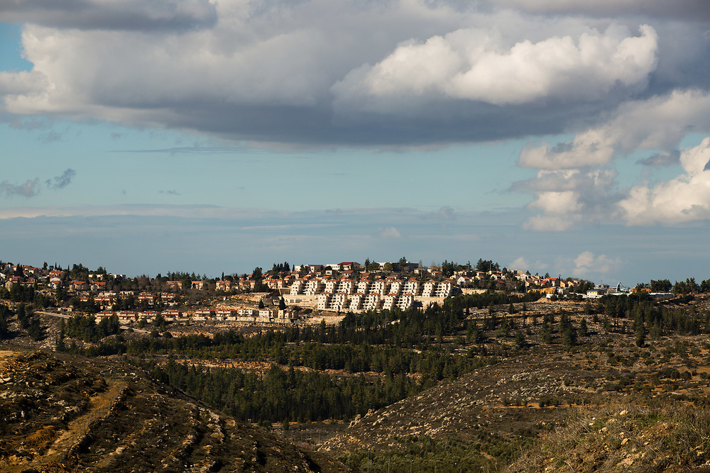 A general view of the West Bank Jewish settlement of Eli seen from the archaeological park of Ancient Shiloh, which is located at the entrance to the modern Jewish settlement of Shiloh, south of the Palestinian West Bank town of Nablus, on January 1, 2017.
