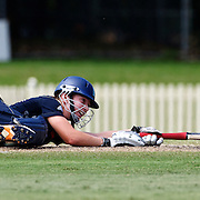 Betty Morgan just makes her ground during the match between England and New Zealand in the Super 6 stage of the ICC Women's World Cup Cricket match at Bankstown Oval, Sydney, Australia on March 14 2009, England made 201 for 5 in their 50 overs. Photo Tim Clayton