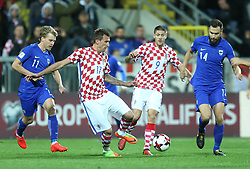 RIJEKA, Oct. 7, 2017  Mario Mandzukic (2nd L) and Andrej Kramaric (2nd R) of Croatia vie with Rasmus Schuller (1st L) and Tim Sparv of Finland during 2018 FIFA World Cup Russia qualifiers match between Croatia and Finland in Rijeka, Croatia on Oct. 6, 2017. The match ended with a 1-1 draw.  wll) (Credit Image: © Sanjin Strukic/Xinhua via ZUMA Wire)