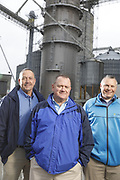 SHOT 10/29/18 9:55:10 AM - Sunrise Cooperative is a leading agricultural and energy cooperative based in Fremont, Ohio with members spanning from the Ohio River to Lake Erie. Sunrise is 100-percent farmer-owned and was formed through the merger of Trupointe Cooperative and Sunrise Cooperative on September 1, 2016. Photographed at the Clyde, Ohio grain elevator was George D. Secor President / CEO and John Lowry<br /> Chairman of the Board of Directors with  CoBank RM Gary Weidenborner. (Photo by Marc Piscotty © 2018)