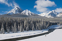 Mount Temple and the Bow River in winter, Banff National Park Alberta Canada