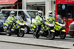 © Licensed to London News Pictures. 16/04/2013. London, UK. A highly visible police presence on the Strand, midway on the route that the funeral of Margaret Thatcher will take tomorrow.   Photo credit : Richard Isaac/LNP