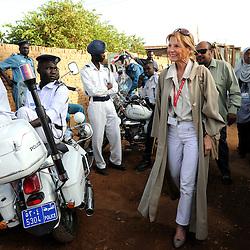 Khartoum, Sudan 11 April 2010.EU mission chief observer Veronique de Keyser arrives to a polling station during the presidential elections in Sudan..Photo : Scorpix
