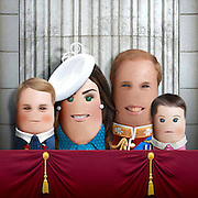 """These royal portraits created by the finger artist DITO VON TEASE<br />known as """"il Dito"""", thatÕs Italian for Òthe FingerÓ. a funny invitation to people to be curious about the complex mystery of personal identities ...  <br /><br />Photo shows: Prince William ,kate and babies<br />©Exclusivepix Media"""