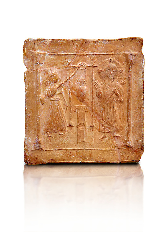 6th-7th Century Eastern Roman Byzantine  Christian Terracotta tiles depicting Christ changing Water into wine - Produced in Byzacena -  present day Tunisia. <br /> <br /> These early Christian terracotta tiles were mass produced thanks to moulds. Their quadrangular, square or rectangular shape as well as the standardised sizes in use in the different regions were determined by their architectonic function and were designed to facilitate their assembly according to various combinations to decorate large flat surfaces of walls or ceilings. <br /> <br /> Byzacena stood out for its use of biblical and hagiographic themes and a richer variety of animals, birds and roses. Some deer and lions were obviously inspired from Zeugitana prototypes attesting to the pre-existence of this province's production with respect to that of Byzacena. The rules governing this art are similar to those that applied to late Roman and Christian art with, in the case of Byzacena, an obvious popular connotation. Its distinguishing features are flatness, a predilection for symmetrical compositions, frontal and lateral representations, the absence of tridimensional atti-tudes and the naivety of some details (large eyes, pointed chins). Mass production enabled this type of decoration to be widely used at little cost and it played a role as ideograms and for teaching catechism through pictures. Painting, now often faded, enhanced motifs in relief or enriched them with additional details to break their repetitive monotony.<br /> <br /> The Bardo National Museum Tunis, Tunisia.  Against a white background.