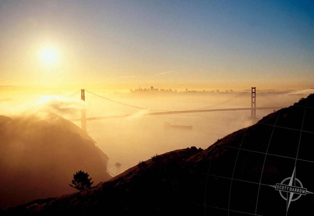 View at dawn from Marin Headlands, Golden Gate National Recreation Area, Golden Gate Bridge