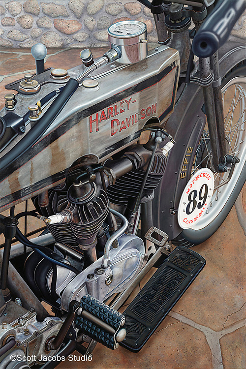 """""""Effie""""<br /> Painting by Scott Jacobs 2010<br /> <br /> This 1915 Harley-Davidson was ridden by 3 time motorcycle hall of famer Cris Sommer Simmons in the prestigious Cannonball Race across the country multiple times."""