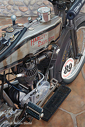 """Effie""<br /> Painting by Scott Jacobs 2010<br /> <br /> This 1915 Harley-Davidson was ridden by 3 time motorcycle hall of famer Cris Sommer Simmons in the prestigious Cannonball Race across the country multiple times."