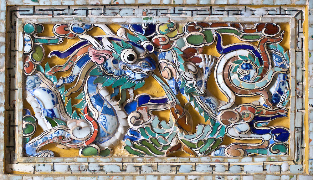 Detail of a mosaic in the Tomb of Minh Mang, near the old imperial capital of Hue, Vietnam.