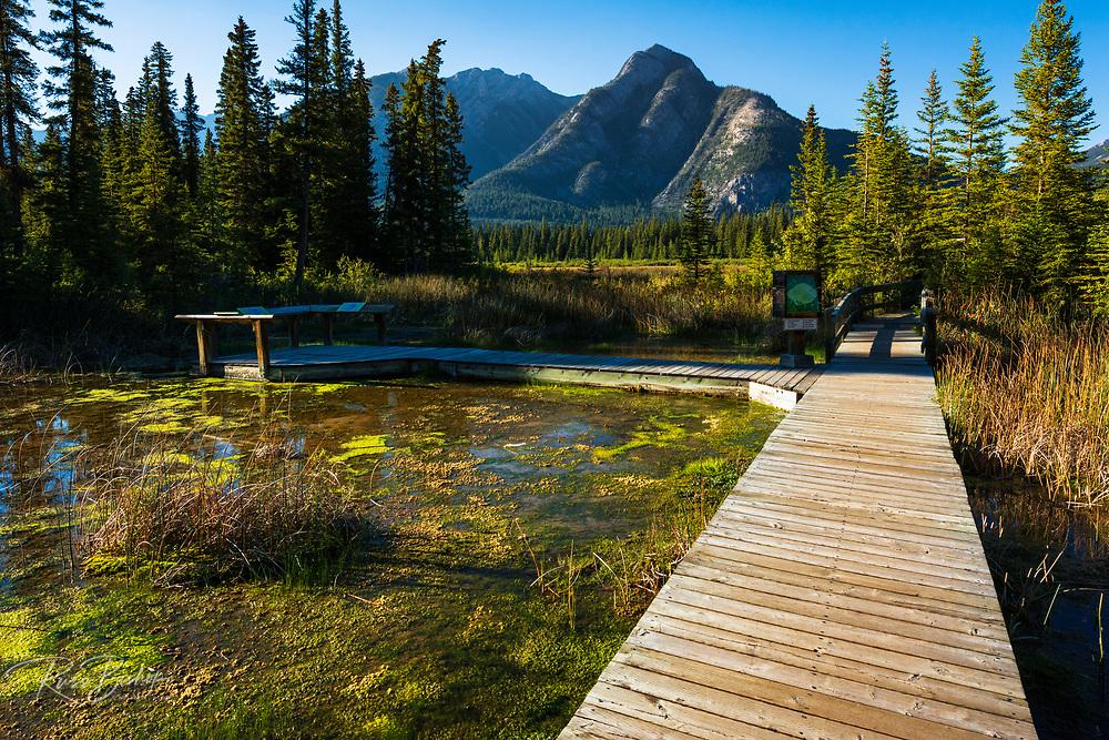 Boardwalk and interpretive signs at Cave and Basin National Historic Site, Banff National Park, Alberta, Canada