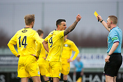 Queen of the South's Derek Lyle gets booked after Falkirk's penalty goal.<br /> Falkirk 1 v 0 Queen of the South, Scottish Championship game today at the Falkirk Stadium.<br /> © Michael Schofield.