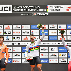 03-03-2019: WK wielrennen: Baan: Pruszkow<br />- Cycling - UCI Track Cycling World Championships presented by Tissot - Velodrome BGZ Arena, Pruszkow, Poland - Men's Sprint Gold Finals Harrie Lavreysen of The Netherlands celebrates on the podium wearing the Rainbow Jersey.
