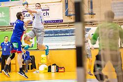 08.03.2019, Sporthalle Leoben Donawitz, Leoben, AUT, spusu HLA, Union JURI Leoben vs HC Linz AG, 6. Relegationsrunde, im Bild v.l.: Marko Tanaskovic (Union JURI Leoben), Ante Grbavac (HC Linz AG) // during the 6th Relegation round of spusu Handball League Austria match between Union JURI Leoben and HC Linz AG at the Sporthalle Leoben Donawitz in Leoben, Austria on 2019/03/08. EXPA Pictures © 2019, PhotoCredit: EXPA/ Dominik Angerer