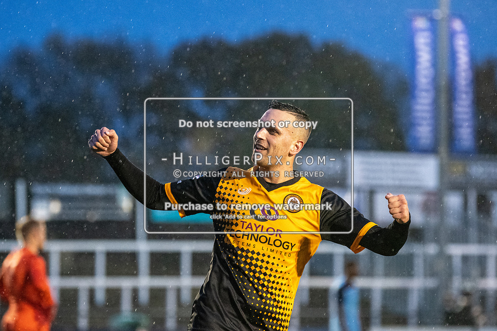 BROMLEY, UK - NOVEMBER 09: Joseph Taylor, of Cray Wanderers FC, celebrates his hat-trick during the BetVictor Isthmian Premier League match between Cray Wanderers and Cheshunt at Hayes Lane on November 9, 2019 in Bromley, UK. <br /> (Photo: Jon Hilliger)