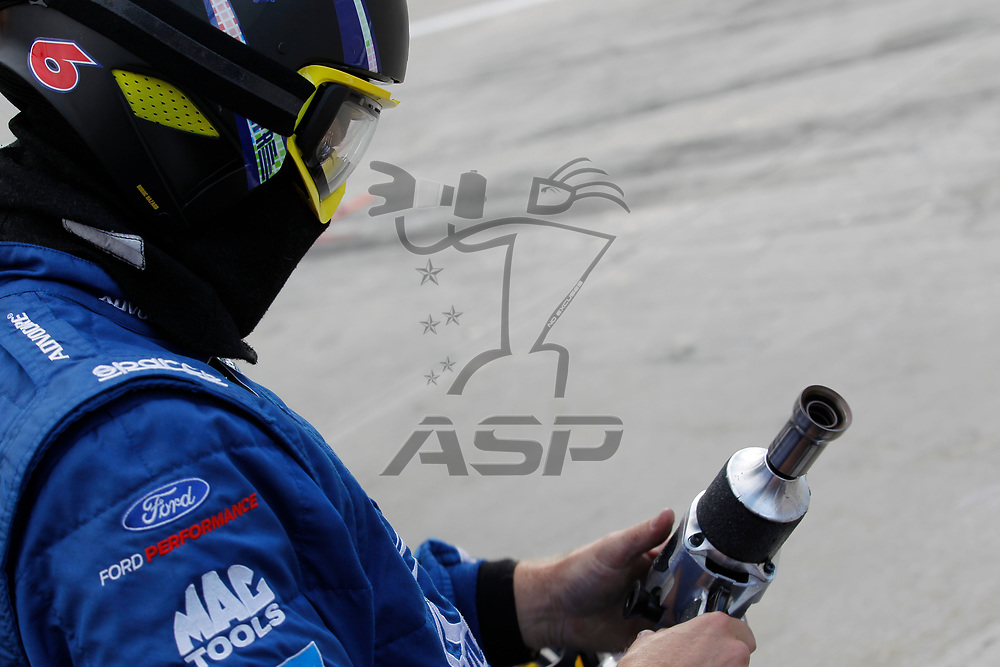 October 29, 2017 - Martinsville, Virginia, USA: Trevor Bayne (6) pit crew member watches the First Data 500 at Martinsville Speedway in Martinsville, Virginia.
