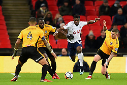 February 7, 2018 - London, United Kingdom - Scot Bennett, Frank Nouble and Joss Labadie of Newport County try and tackle Tottenham Hotspur's Serge Aurier during the FA Cup Fourth Round replay match between Tottenham Hotspur and Newport County at Wembley stadium, London, England on 10 Feb  2018. (Credit Image: © Kieran Galvin/NurPhoto via ZUMA Press)