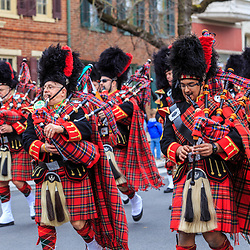 York, PA - March 12, 2016:  Bagpipers with The Kiltie Band of York play and march in the annual Saint Patrick's Day Parade .