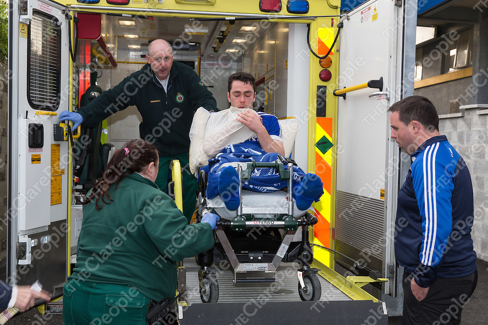 Conor McGrath gets taken away in an ambulance after the match