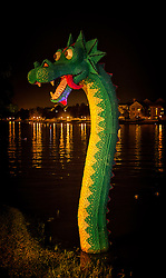 Downtown Disney has it's own Loch Ness Monster that comes out at night.