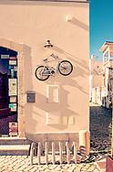 A Bike Rack outside a Restaurant in Tavira, Portugal