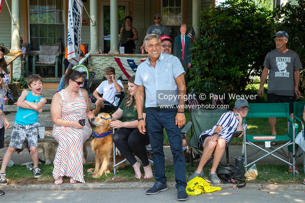 Former congressman and current Republican candidate for Pennsylvania governor Lou Barletta poses for a photo with supporters during the Independence Day Parade in Millville, Pennsylvania on July 5, 2021.