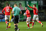 GOAL - 2-0. Charlton Athletic midfielder Jake Forster-Caskey (8) celebrates after scoring a goal during the EFL Sky Bet League 1 match between Charlton Athletic and AFC Wimbledon at The Valley, London, England on 12 December 2020.