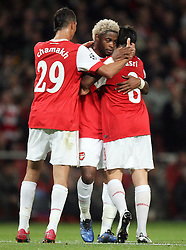 19.10.2010, Emirates Stadium, ENG, UEFA CL, FC Arsenal vs Shakhtar Donetsk, im Bild Arsenal's Samir Nasri scorer of second celebrates with Arsenal's Alexandre Song scorer of first, EXPA Pictures © 2010, PhotoCredit: EXPA/ IPS/ Marcello Pozzetti *** ATTENTION *** UK AND FRANCE OUT!