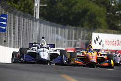 July 15, 2018 - Toronto, Ontario, Canada - ZACHARY CLAMAN DE MELO (19) of Canada battles for position during the Honda Indy Toronto at Streets of Toronto in Toronto, Ontario. (Credit Image: © Justin R. Noe Asp Inc/ASP via ZUMA Wire)