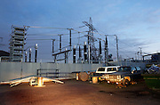 Technology of the electricity substation at South Bromley, seen with rubbish in the Pylon Industrial Estate. .