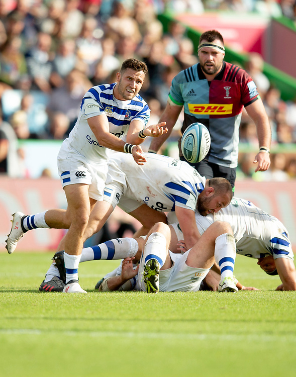 Bath Rugby's Max Green in action during todays match<br /> <br /> Photographer Bob Bradford/CameraSport<br /> <br /> Gallagher Premiership Round 3 - Harlequins v Bath Rugby - Saturday 15th September 2018 - The Stoop - London<br /> <br /> <br /> World Copyright © 2018 CameraSport. All rights reserved. 43 Linden Ave. Countesthorpe. Leicester. England. LE8 5PG - Tel: +44 (0) 116 277 4147 - admin@camerasport.com - www.camerasport.com