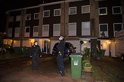 © Licensed to London News Pictures 19/01/2021.        Greenwich, UK. Police on scene. A murder investigation has been launched by police in Greenwich, South East London after a 74 year old man was found with a knife injury inside a residential property. He was pronounced dead at the scene. Photo credit:Grant Falvey/LNP