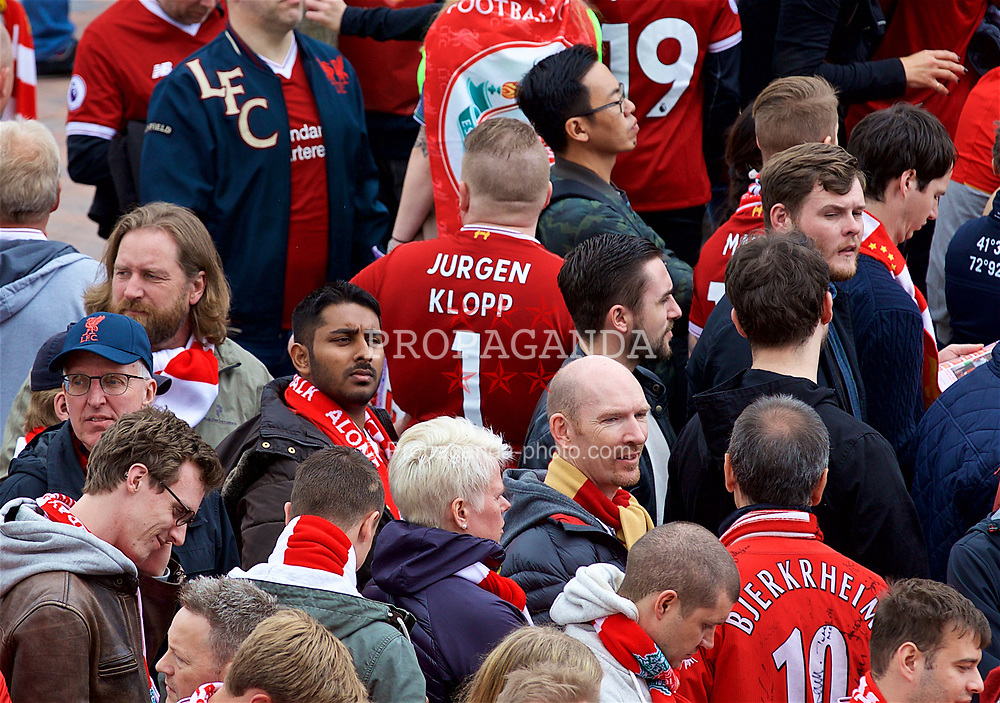 LIVERPOOL, ENGLAND - Sunday, May 21, 2017: A Liverpool supporter with Jurgen Klopp #1 on his shirt, outside Anfield ahead of the FA Premier League match between Liverpool and Middlesbrough. (Pic by David Rawcliffe/Propaganda)