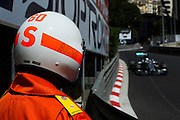 May 24, 2014: Monaco Grand Prix: ACM marshal with Lewis Hamilton (GBR), Mercedes Petronas