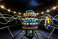 © Licensed to London News Pictures. 23/03/2018. York UK. Abbi Ollive views the Mat Collishaw sculpture Zoetrope at Castle Howard this morning. The sculpture produces the illusion of motion through rapid rotation and stroboscopic light. The technology was the precursor to modern film making, animated scenes of bowerbirds and birds of paradise as they perform elaborate mating rituals. The sculpture forms part of a new xehibition at Castle Howard called The Centrifugal Soul & open's on Saturday 24th March. Photo credit: Andrew McCaren/LNP
