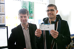 Jure Pezdirc and Matjaz Rakovec who bought first ticket (VIP for whole tournament for 600€) at Eventim box office after HZS Press conference about official launch of tickets sale for 2012 IIHF Ice Hockey World Championship Division I Group A that will be at new arena SRC Stozice, on Januar 18, 2012 at Hala Tivoli, Ljubljana, Slovenia. (Photo By Matic Klansek Velej / Sportida)