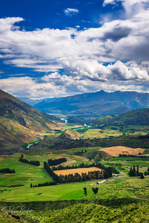 Queenstown from the Crown Range Overlook, Otago, South Island, New Zealand