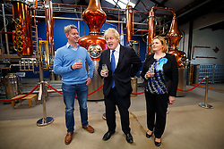 © Licensed to London News Pictures. 17/04/2015. LONDON, UK. Mayor of London and Conservative Party parliamentary candidate for Uxbridge and South Ruislip, Boris Johnson and Conservative Party parliamentary candidate for Brentford and Isleworth, Mary Macleod (R) visiting The Sipsmith Distillery in Chiswick, west London on Friday, 17 April 2015. Photo credit : Tolga Akmen/LNP