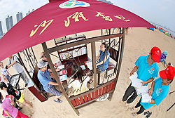 August 3, 2017 - Qinhuangdao, Qinhuangdao, China - Qinhuangdao, CHINA-August 3 2017: (EDITORIAL USE ONLY. CHINA OUT) ..A book bar can be seen on beach in Qinhuangdao, north China's Hebei Province, providing free reading service for tourists. (Credit Image: © SIPA Asia via ZUMA Wire)