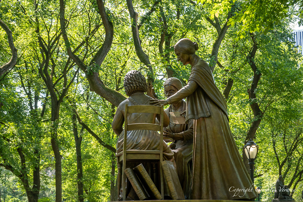Monument of the Women's Rights Pioneers Sojourner Truth, Elizabeth Cady Stanton and Susan B. Anthony on The Mall in Central Park, unveiled today by Monumental Women on the occasion on the 100th anniversary of the ratification on the 19th amendment and women winning the right to vote; Aug. 26, 2020.